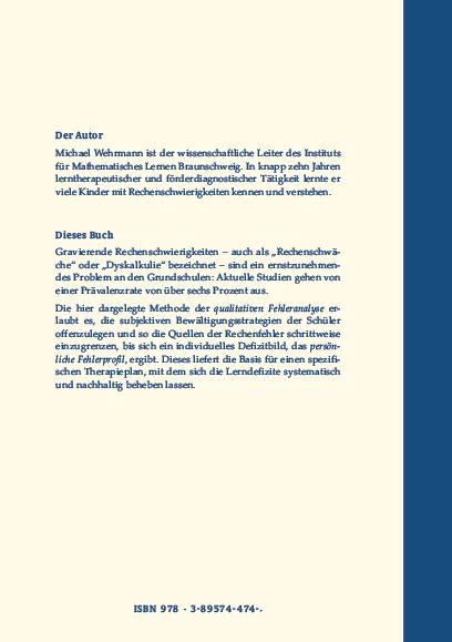 Coverrückseite - Wehrmann - Qualitative Diagnostik von Rechenschwierigkeiten - Verlag Dr. Köster - ISBN 978-3-89574-474-7