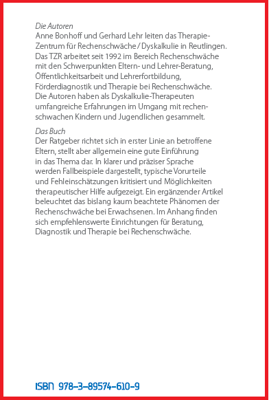 Coverrückseite - Bonhof f- Lehr - Ratgeber Rechenschwäche - Verlag Dr. Köster - ISBN 978-3-89574-610-9