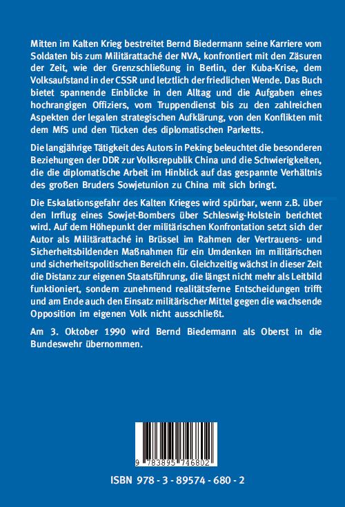 Coverrückseite - Biedermann - Offizier, Diplomat und Aufklärer der NVA - Verlag Dr. Köster - ISBN 978-3-89574-680-2