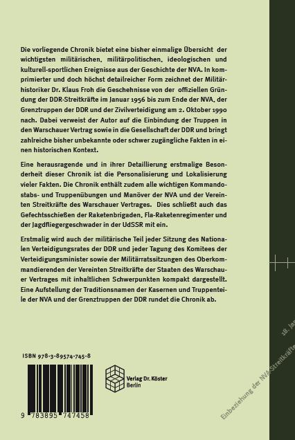 Coverrückseite - Froh - Chronik der NVA - ISBN 978-3-89574-745-8 - Verlag Dr. Köster
