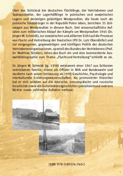 Coverrückseite - Schmidt (Hg.) - Flucht und Vertreibung aus Westpreußen - Verlag Dr. Köster - ISBN 978-3-89574-760-1