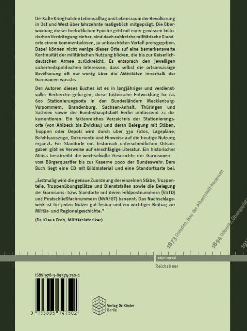 Coverrückseite - Garnisonen der NVA und GSTD - Verlag Dr. Köster - ISBN 978-3-89574-750-2