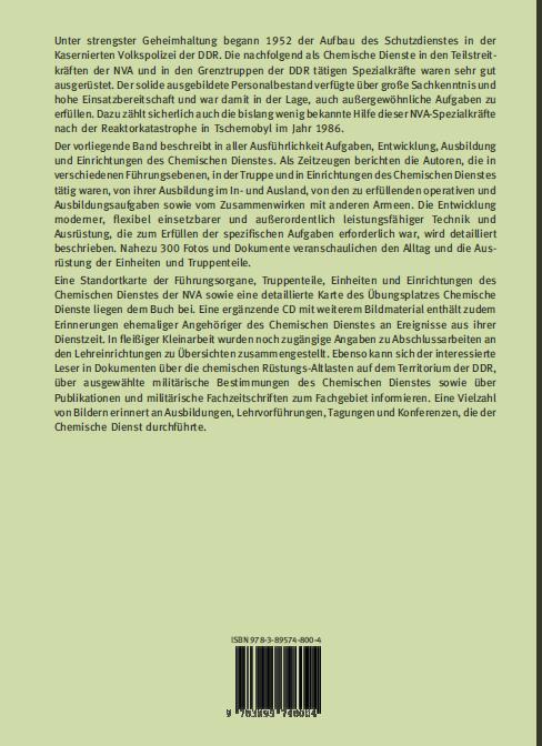 Coverrückseite - Büttner - Die Chemiker der NVA - Verlag Dr. Köster - ISBN 978-3-89574-800-4