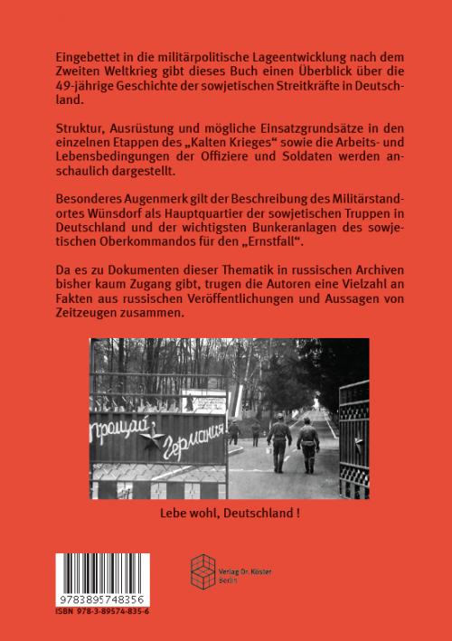 Coverrückseite - Hoffmann - Stoof - Sowjetische Truppen in Deutschland - ISBN 978-3-89574-835-6 - Verlag Dr. Köster