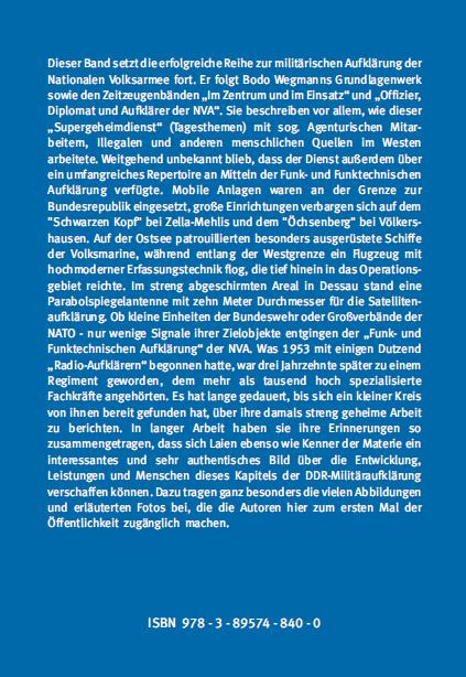 Coverrückseite - Blümer - Die Militäraufklärung der NVA - Funk- und Funktechnische Aufklärung - ISBN 978-3-89574-840-0 - Verlag Dr. Köster