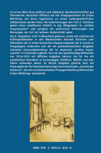 Coverrückseite - Schmidt - Schnitzer (Hg.) - Militärischer Alltag und Pressearbeit im Großen Hauptquartier Wilhelms II. - ISBN 978-3-89574-850-9 - Verlag Dr. Köster