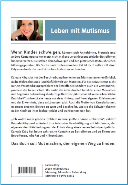 Coverrückseite - Kiby - Leben mit Mutismus - ISBN 978-3-89574-868-4 - Verlag Dr. Köster