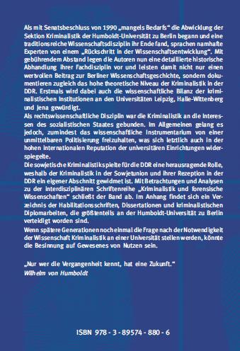 Coverrückseite - Schurich - Wirth - Die Kriminalistik an den Universitäten der DDR - ISBN 978-3-89574-880-6 - Verlag Dr. Köster