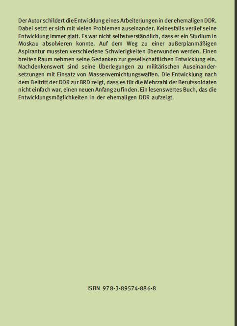 Coverrückseite - Herzig - Offizier im Chemischen Dienst der NVA - ISBN 978-3-89574-886-8 - Verlag Dr. Köster