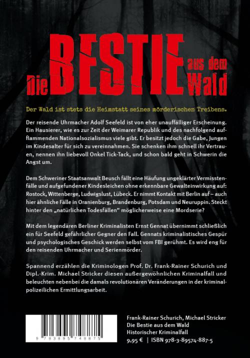 Coverrückseite - Schurich - Stricker - Die Bestie aus dem Wald - ISBN 978-3-89574-887-5 - Verlag Dr. Köster