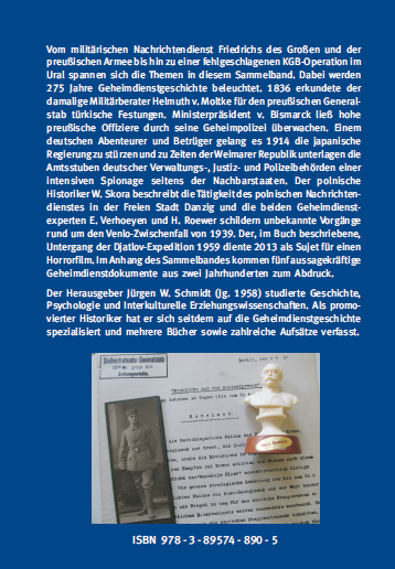 Coverrückseite - Schmidt (Hg.) - Spione, Betrüger, Geheimoperationen - ISBN 978-3-89574-890-5 - Verlag Dr. Köster