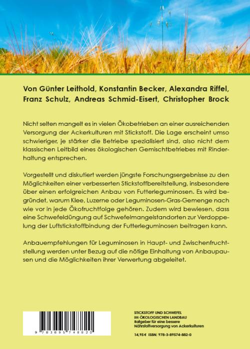 Coverrückseite - Leithold u.a. - Stickstoff und Schwefel im ökologischen Landbau - Verlag Dr. Köster - ISBN 978-3-89574-882-0
