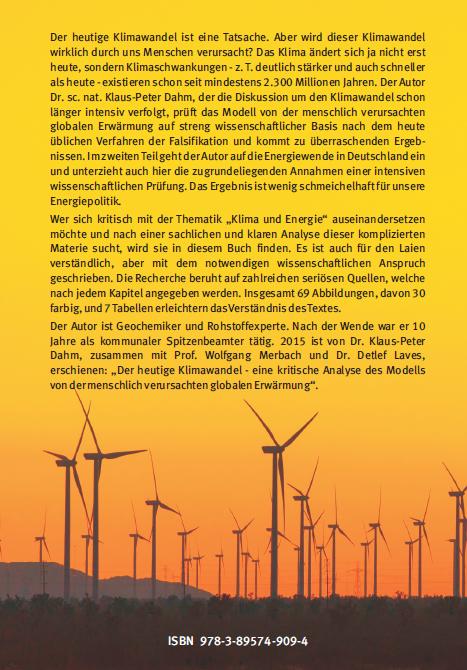 Coverrückseite - Dahm - Vom Klimawandel zur Energiewende - ISBN 978-3-89574-909-4 - Verlag Dr. Köster