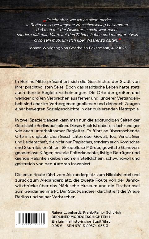 Coverrückseite - Leonhardt - Schurich - Berliner Mord-Geschichten I - ISBN 978-3-89574-935-3 - Verlag Dr. Köster