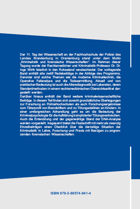 Coverrückseite - Christe-Zeyse (Hg.) - Kriminalistik und forensische Wissenschaften - ISBN 978-3-89574-941-4 - Verlag Dr. Köster