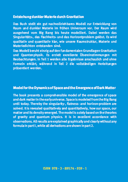 Coverrückseite - Carmesin - Entstehung dunkler Materie durch Gravitation - Verlag Dr. Köster - ISBN 978-3-89574-939-1