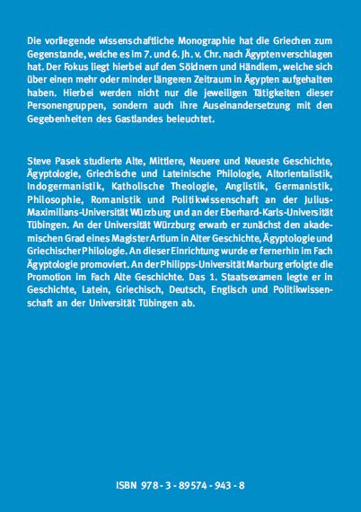 Coverrückseite - Pasek - Griechen in Ägypten während der Saitenzeit - ISBN 978-3-89574-943-8 - Verlag Dr. Köster