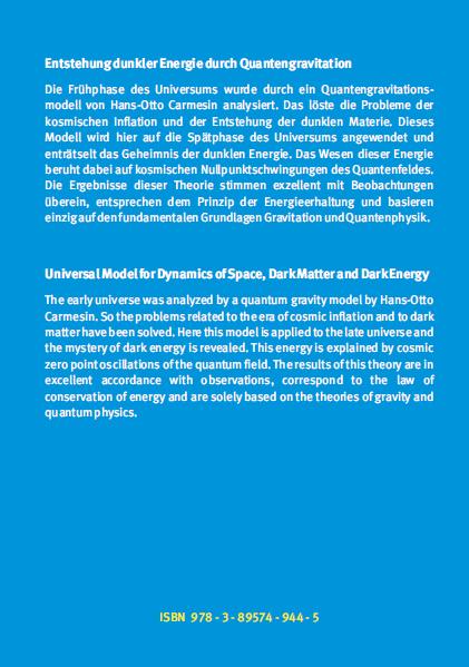 Coverrückseite - Carmesin - Entstehung dunkler Energie durch Quantengravitation - Verlag Dr. Köster - ISBN 978-3-89574-944-5