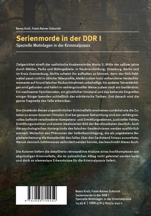 Coverrückseite Kroll Schurich Serienmorde in der DDR I
