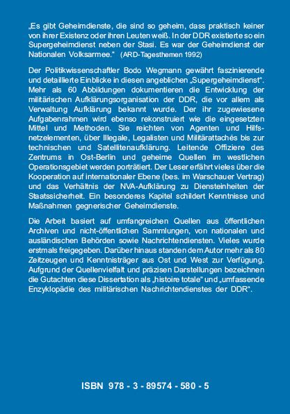Coverrückseite - Wegmann - Die Militäraufklärung der NVA - Die zentrale Organisation der militärischen Aufklärung - ISBN 978-3-89574-580-5 - Verlag Dr. Köster