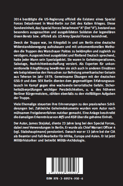 Coverrückseite - Stejskal - US-Spezialkräfte in Berlin - ISBN 978-3-89574-950-6 - Verlag Dr. Köster
