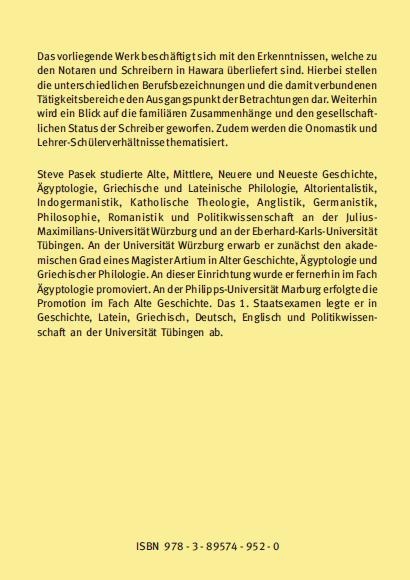 Coverrückseite - Pasek - Die Notare zu Hawara in der Spätzeit und der hellenistischen Zeit - ISBN 978-3-89574-952-0 - Verlag Dr. Köster