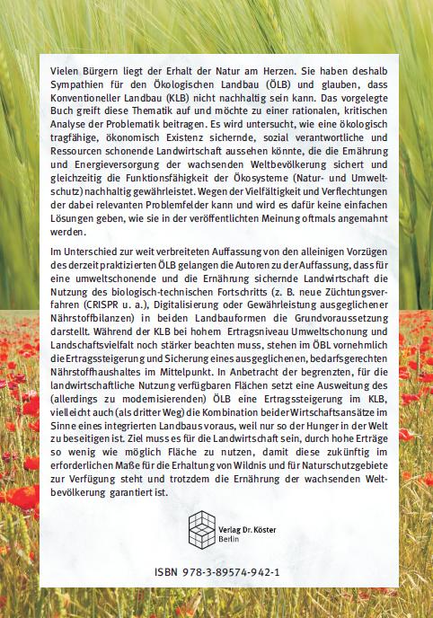 Coverrückseite - Schulze - Merbach - Nachhaltige Landwirtschaft mit technologischem Fortschritt - ISBN 978-3-89574-942-1 - Verlag Dr. Köster