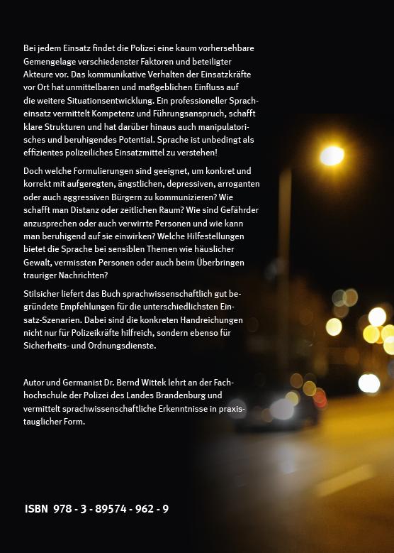 Coverrückseite - Bernd Wittek - Sprache im Einsatz - Praxis-Tipps für den Polizeialltag - Verlag Dr. Köster - ISBN 978-3-89574-962-9