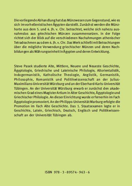 Coverrückseite - Steve Pasek - Das Münzwesen im vorhellenistischen Ägypten - Verlag Dr. Köster - ISBN 978-3-89574-963-6