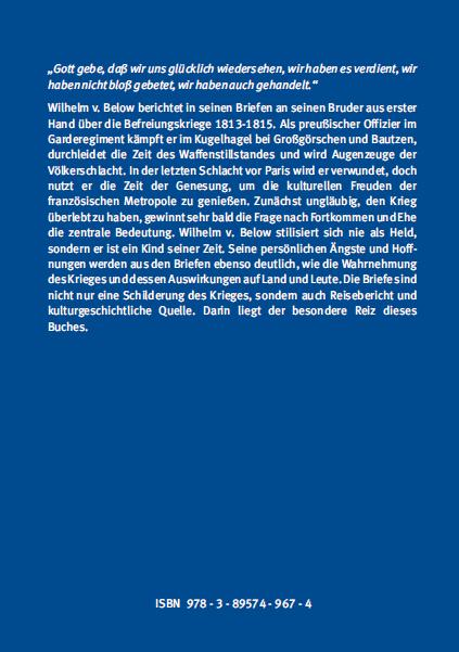 Backcover - Dr. Robert Oldach - Als Gardeoffizier in den Befreiungskriegen - Verlag Dr. Köster - ISBN 978-3-89574-967-4