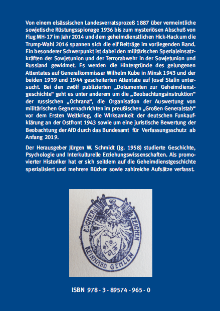 Backcover - Jürgen W. Schmidt (Hrsg.) - Spionage, Terror und Spezialeinsatzkräfte - Verlag Dr. Köster - ISBN 978-3-89574-965-0