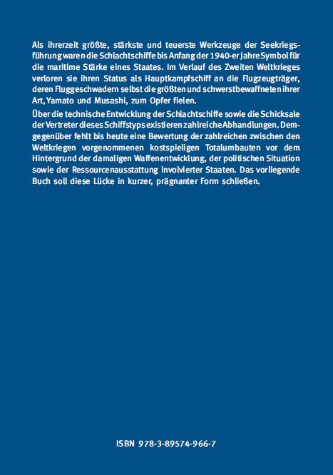Backcover - Zornow - Der Totalumbau von Schlachtschiffen zwischen den Weltkriegen - Verlag Dr. Köster - ISBN 978-3-89574-966-7