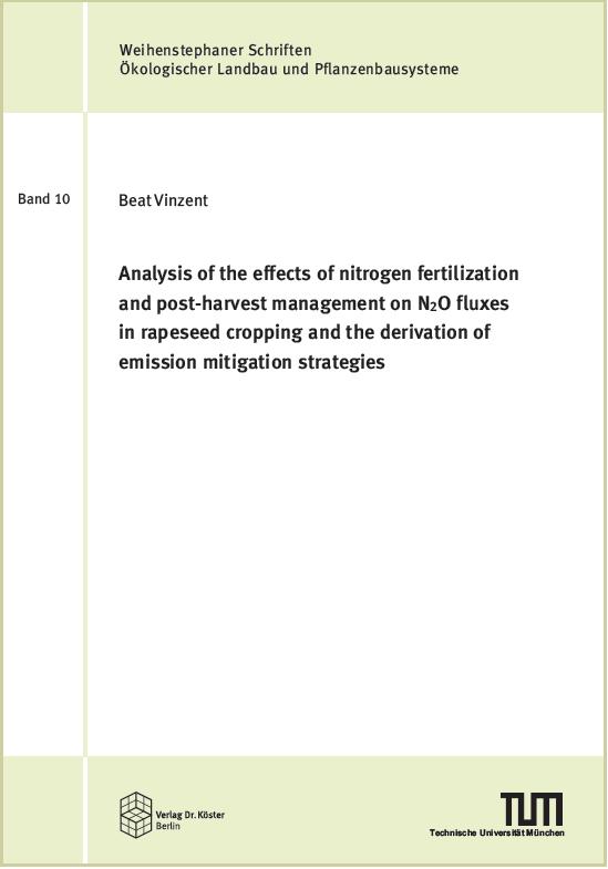 Cover - Beat Vinzent - Analysis of the effects of nitrogen fertilization - Verlag Dr. Köster - ISBN 978-3-89574-974-2
