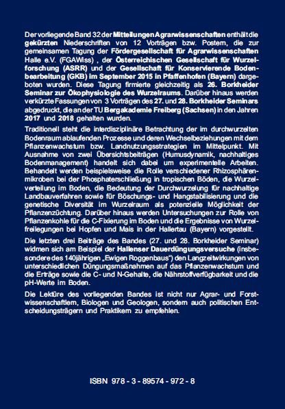 Backcover - Merbach, Loiskandl u.a. (Hrsg.) - Wurzel und Rhizosphäre