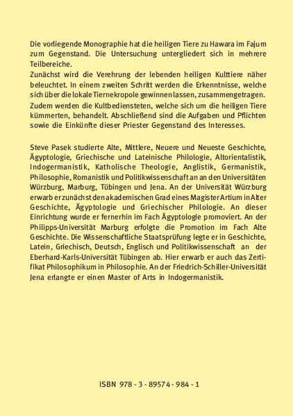 Backcover - Steve Pasek - Die heiligen Tiere zu Hawara - Verlag Dr. Köster - ISBN 978-3-89574-984-1