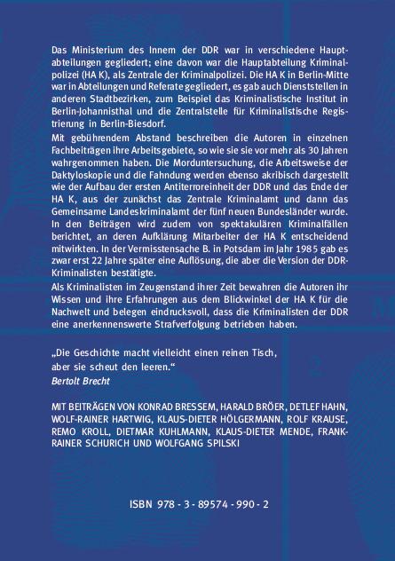 Backcover - Konrad Bressem, Harald Bröer (Hrsg.) - Die Zentrale der Kriminalpolizei im Ministerium des Innern der DDR - ISBN 978-3-89574-990-2