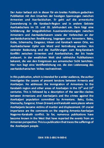 Klappentext - Kipke - Exzesse ethnischer Gewalt gegen das Aserbaidschanische Volk - ISBN 978-3-89574-989-6
